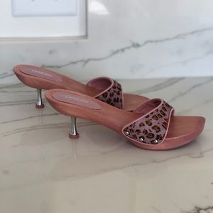 Pazzo Exotic Pink Leather Wood Slides 9